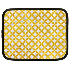 Circles3 White Marble & Yellow Marble (r) Netbook Case (large) by trendistuff
