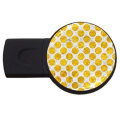 Circles2 White Marble & Yellow Marble (r) Usb Flash Drive Round (4 Gb) by trendistuff