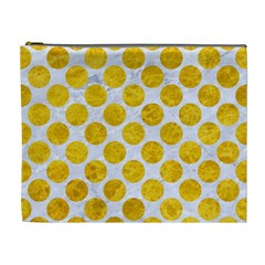 Circles2 White Marble & Yellow Marble (r) Cosmetic Bag (xl) by trendistuff