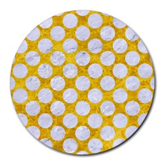 Circles2 White Marble & Yellow Marble Round Mousepads by trendistuff
