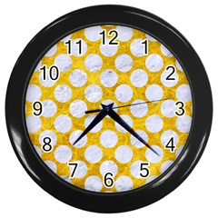 Circles2 White Marble & Yellow Marble Wall Clocks (black) by trendistuff