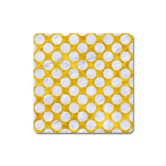 Circles2 White Marble & Yellow Marble Square Magnet by trendistuff
