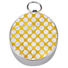 Circles2 White Marble & Yellow Marble Silver Compasses by trendistuff