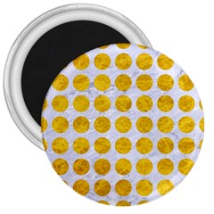 Circles1 White Marble & Yellow Marble (r) 3  Magnets by trendistuff