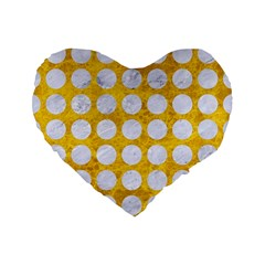 Circles1 White Marble & Yellow Marble Standard 16  Premium Flano Heart Shape Cushions