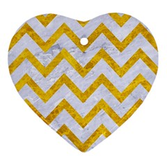 Chevron9 White Marble & Yellow Marble (r) Ornament (heart) by trendistuff