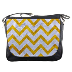 Chevron9 White Marble & Yellow Marble (r) Messenger Bags by trendistuff