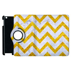 Chevron9 White Marble & Yellow Marble (r) Apple Ipad 3/4 Flip 360 Case by trendistuff