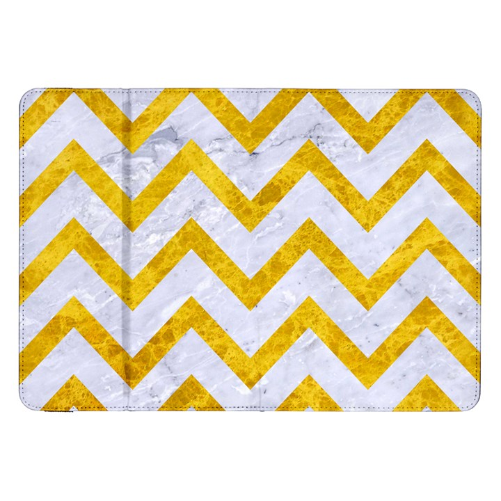CHEVRON9 WHITE MARBLE & YELLOW MARBLE (R) Samsung Galaxy Tab 8.9  P7300 Flip Case