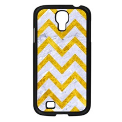 Chevron9 White Marble & Yellow Marble (r) Samsung Galaxy S4 I9500/ I9505 Case (black) by trendistuff