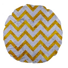 Chevron9 White Marble & Yellow Marble (r) Large 18  Premium Flano Round Cushions by trendistuff