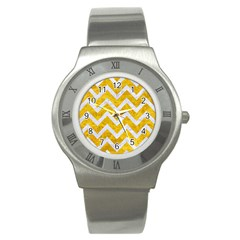 Chevron9 White Marble & Yellow Marble Stainless Steel Watch by trendistuff