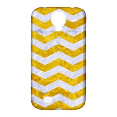 Chevron3 White Marble & Yellow Marble Samsung Galaxy S4 Classic Hardshell Case (pc+silicone) by trendistuff