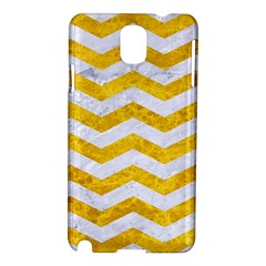 Chevron3 White Marble & Yellow Marble Samsung Galaxy Note 3 N9005 Hardshell Case by trendistuff