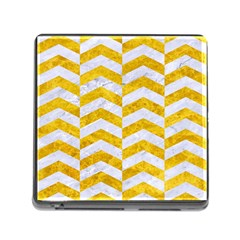 Chevron2 White Marble & Yellow Marble Memory Card Reader (square) by trendistuff