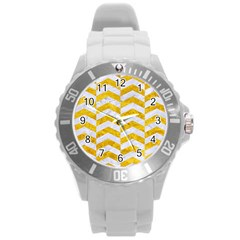 Chevron2 White Marble & Yellow Marble Round Plastic Sport Watch (l) by trendistuff