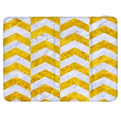 Chevron2 White Marble & Yellow Marble Samsung Galaxy Tab 7  P1000 Flip Case by trendistuff