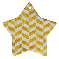 Chevron1 White Marble & Yellow Marble Ornament (star) by trendistuff