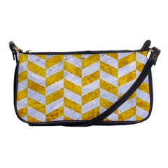 Chevron1 White Marble & Yellow Marble Shoulder Clutch Bags by trendistuff