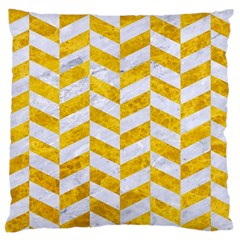 Chevron1 White Marble & Yellow Marble Large Cushion Case (one Side) by trendistuff