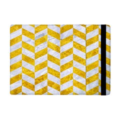 Chevron1 White Marble & Yellow Marble Apple Ipad Mini Flip Case by trendistuff