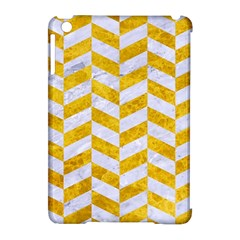 Chevron1 White Marble & Yellow Marble Apple Ipad Mini Hardshell Case (compatible With Smart Cover) by trendistuff