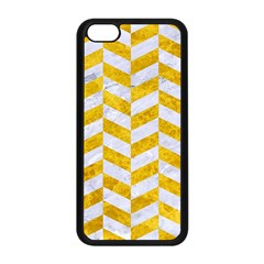 Chevron1 White Marble & Yellow Marble Apple Iphone 5c Seamless Case (black) by trendistuff