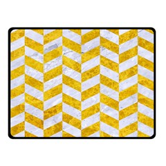 Chevron1 White Marble & Yellow Marble Double Sided Fleece Blanket (small)  by trendistuff