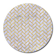 Brick2 White Marble & Yellow Marble (r) Round Mousepads by trendistuff