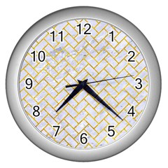 Brick2 White Marble & Yellow Marble (r) Wall Clocks (silver)  by trendistuff