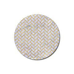 Brick2 White Marble & Yellow Marble (r) Rubber Coaster (round)  by trendistuff