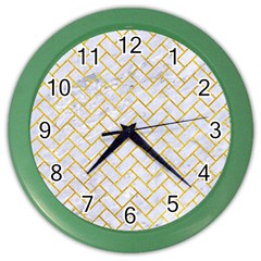Brick2 White Marble & Yellow Marble (r) Color Wall Clocks by trendistuff