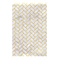 Brick2 White Marble & Yellow Marble (r) Shower Curtain 48  X 72  (small)  by trendistuff