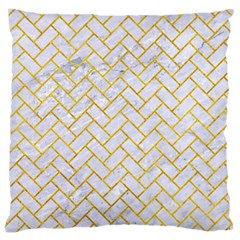 Brick2 White Marble & Yellow Marble (r) Large Cushion Case (two Sides)