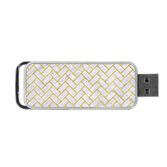 Brick2 White Marble & Yellow Marble (r) Portable Usb Flash (one Side) by trendistuff