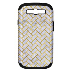 Brick2 White Marble & Yellow Marble (r) Samsung Galaxy S Iii Hardshell Case (pc+silicone) by trendistuff