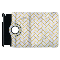 Brick2 White Marble & Yellow Marble (r) Apple Ipad 3/4 Flip 360 Case by trendistuff