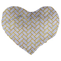 Brick2 White Marble & Yellow Marble (r) Large 19  Premium Heart Shape Cushions