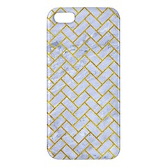 Brick2 White Marble & Yellow Marble (r) Iphone 5s/ Se Premium Hardshell Case by trendistuff
