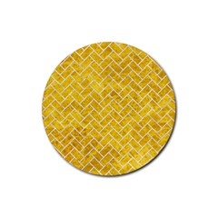 Brick2 White Marble & Yellow Marble Rubber Coaster (round)  by trendistuff