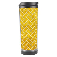 Brick2 White Marble & Yellow Marble Travel Tumbler by trendistuff