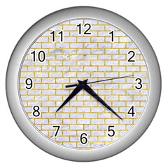 Brick1 White Marble & Yellow Marble (r) Wall Clocks (silver)  by trendistuff