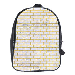 Brick1 White Marble & Yellow Marble (r) School Bag (large) by trendistuff