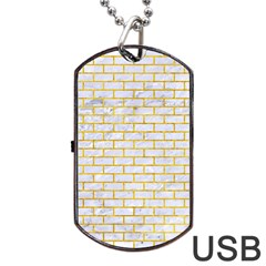 Brick1 White Marble & Yellow Marble (r) Dog Tag Usb Flash (two Sides) by trendistuff