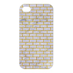 Brick1 White Marble & Yellow Marble (r) Apple Iphone 4/4s Hardshell Case by trendistuff