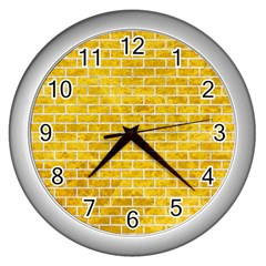 Brick1 White Marble & Yellow Marble Wall Clocks (silver)  by trendistuff