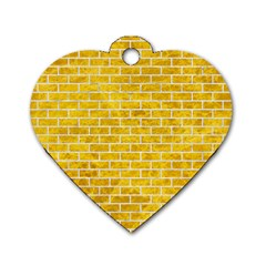Brick1 White Marble & Yellow Marble Dog Tag Heart (one Side) by trendistuff