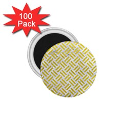 Woven2 White Marble & Yellow Leather (r) 1 75  Magnets (100 Pack)  by trendistuff
