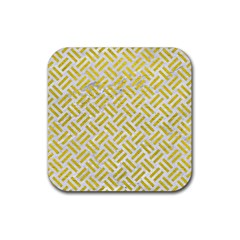 Woven2 White Marble & Yellow Leather (r) Rubber Coaster (square)  by trendistuff