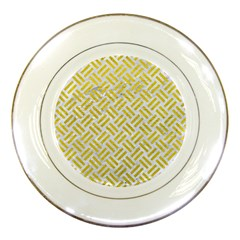 Woven2 White Marble & Yellow Leather (r) Porcelain Plates by trendistuff